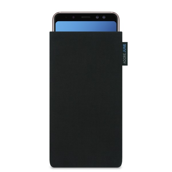 The picture shows the front of Classic Sleeve for Samsung Galaxy A8 2018 in color Black; As an illustration, it also shows what the compatible device looks like in this bag