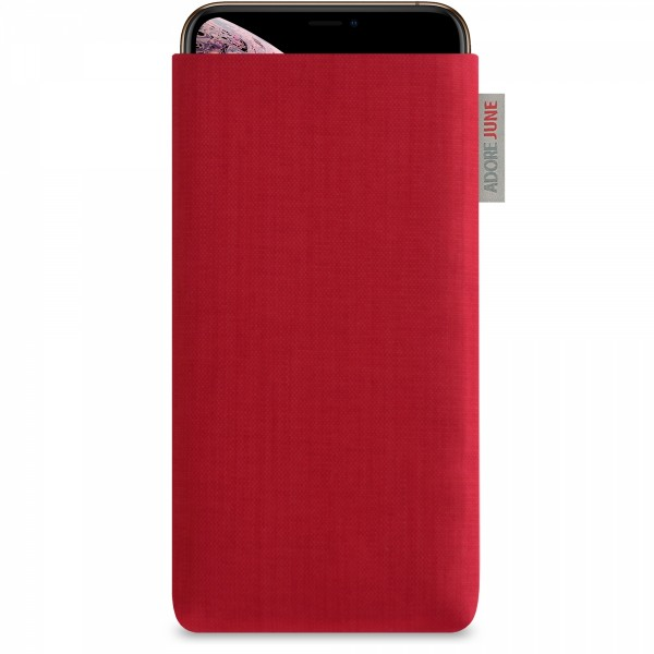 The picture shows the front of Classic Sleeve for Apple iPhone Xs Max in color Red; As an illustration, it also shows what the compatible device looks like in this bag