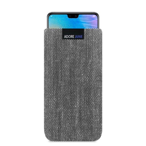 The picture shows the front of Business Sleeve for Huawei P20 and Huawei P20 Lite in color Grey / Black; As an illustration, it also shows what the compatible device looks like in this bag