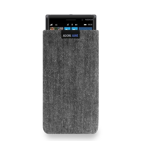 The picture shows the front of Business Sleeve for Nokia Lumia 830 in color Grey / Black; As an illustration, it also shows what the compatible device looks like in this bag