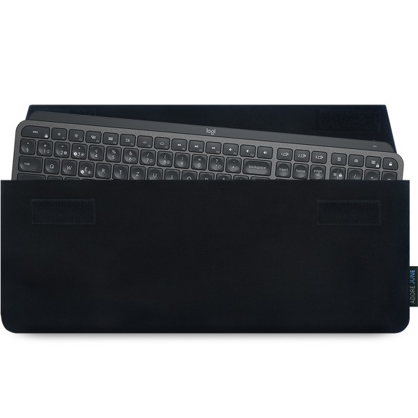The picture shows the front of Keeb Sleeve for Logitech MX Keys Keyboard in color Black; As an illustration, it also shows what the compatible device looks like in this bag