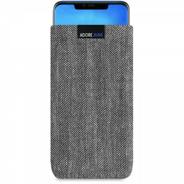 The picture shows the front of Business Sleeve for Huawei Mate 20 Pro in color Grey / Black; As an illustration, it also shows what the compatible device looks like in this bag