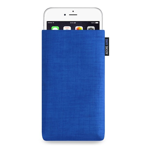 The picture shows the front of Classic Sleeve for Apple iPhone 6 Plus 6S Plus and iPhone 7 Plus in color Blue; As an illustration, it also shows what the compatible device looks like in this bag