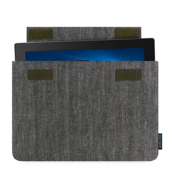 The picture shows the front of Business Sleeve for Lenovo Yoga Book in color Grey / Black; As an illustration, it also shows what the compatible device looks like in this bag