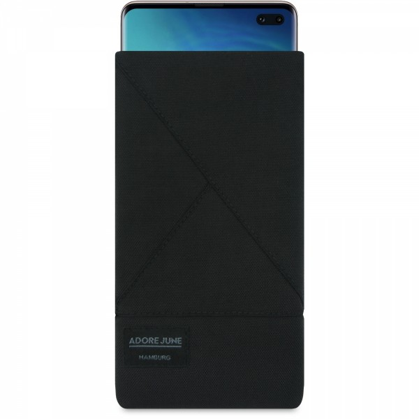 The picture shows the front of Triangle Sleeve for Samsung Galaxy S10 Plus in color Black; As an illustration, it also shows what the compatible device looks like in this bag