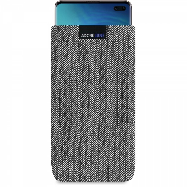 The picture shows the front of Business Sleeve for Samsung Galaxy S10 Plus in color Grey / Black; As an illustration, it also shows what the compatible device looks like in this bag