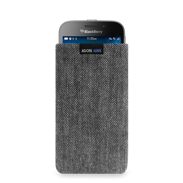 The picture shows the front of Business Sleeve for BlackBerry Classic in color Grey / Black; As an illustration, it also shows what the compatible device looks like in this bag