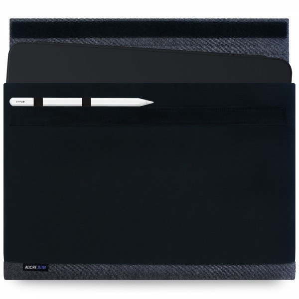 The picture shows the front of Bold Sleeve for Apple iPad Pro 12 2018 with Apple Pen Holder in color Black; As an illustration, it also shows what the compatible device looks like in this bag