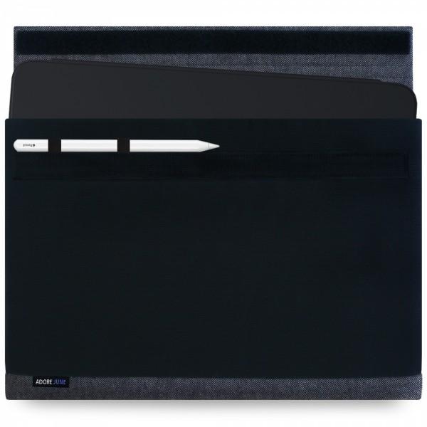 Das Bild zeigt die Vorderseite von Bold Hülle für Apple iPad Pro 12 2018 mit Apple Pen Halterung in Farbe Schwarz; Zur Veranschaulichung wird ebenfalls dargestellt, wie das kompatible Gerät in dieser Tasche aussieht