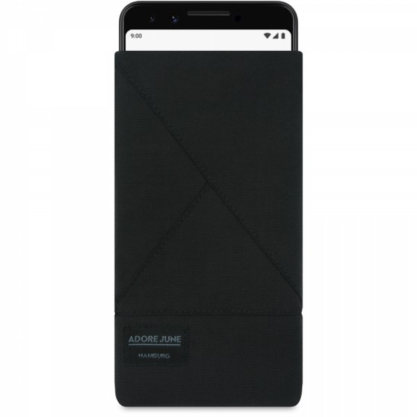Das Bild zeigt die Vorderseite von Triangle Tasche für Google Pixel 3 in Farbe Schwarz; Zur Veranschaulichung wird ebenfalls dargestellt, wie das kompatible Gerät in dieser Tasche aussieht