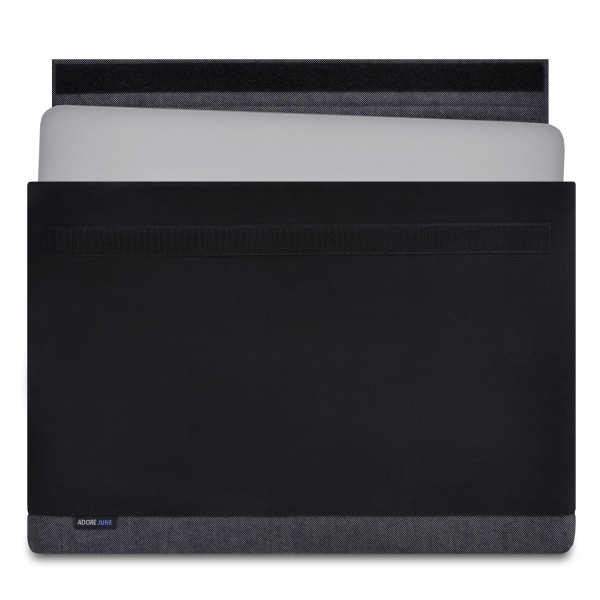 The picture shows the front of Bold Sleeve for Apple MacBook Pro 15 in color Grey / Black; As an illustration, it also shows what the compatible device looks like in this bag