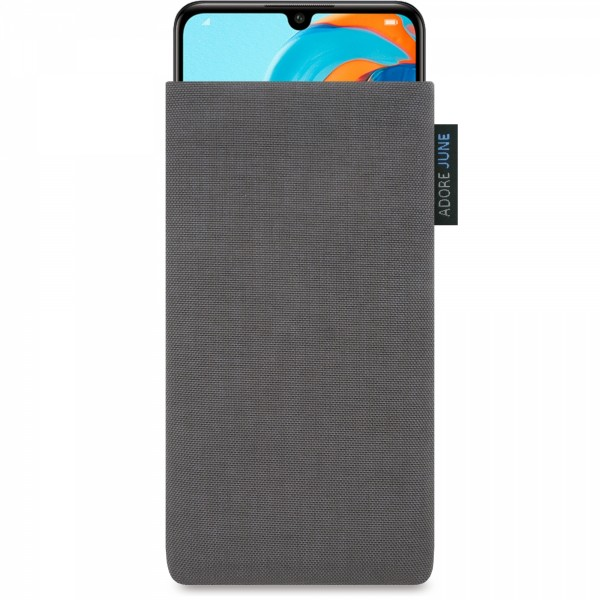 The picture shows the front of Classic Sleeve for Huawei P30 Lite in color Dark Grey; As an illustration, it also shows what the compatible device looks like in this bag
