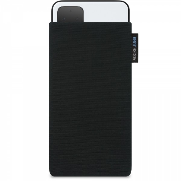 The picture shows the front of Classic Sleeve for Google Pixel 4 XL in color Black; As an illustration, it also shows what the compatible device looks like in this bag