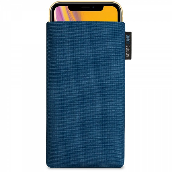 The picture shows the front of Classic Sleeve for Apple iPhone XR in color Ocean-Blue; As an illustration, it also shows what the compatible device looks like in this bag