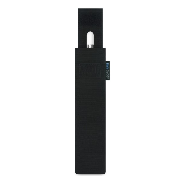 The picture shows the front of Classic Sleeve for Apple Pencil in color Black; As an illustration, it also shows what the compatible device looks like in this bag