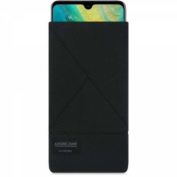 The picture shows the front of Triangle Sleeve for Huawei Mate 20 in color Black; As an illustration, it also shows what the compatible device looks like in this bag