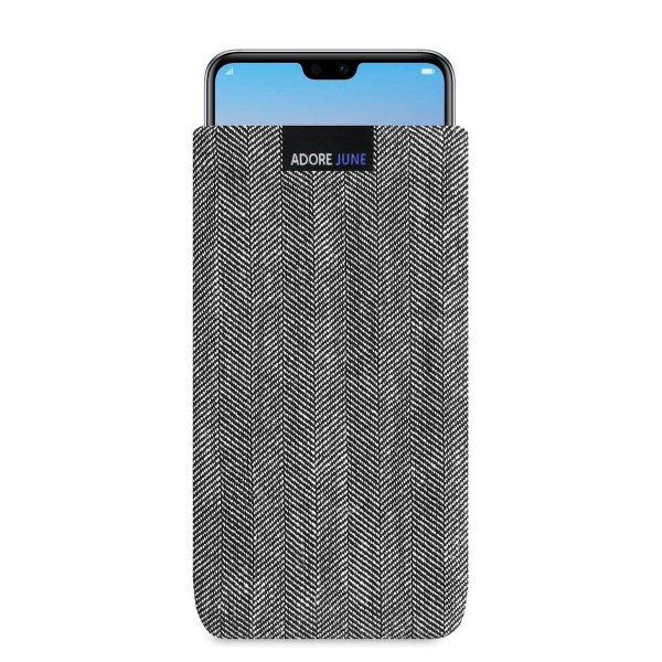 The picture shows the front of Business Sleeve for Huawei P20 PRO in color Grey / Black; As an illustration, it also shows what the compatible device looks like in this bag