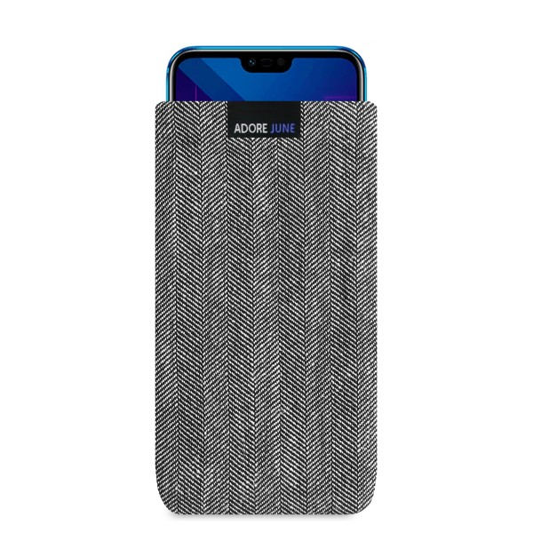 The picture shows the front of Business Sleeve for Honor 10 in color Grey / Black; As an illustration, it also shows what the compatible device looks like in this bag