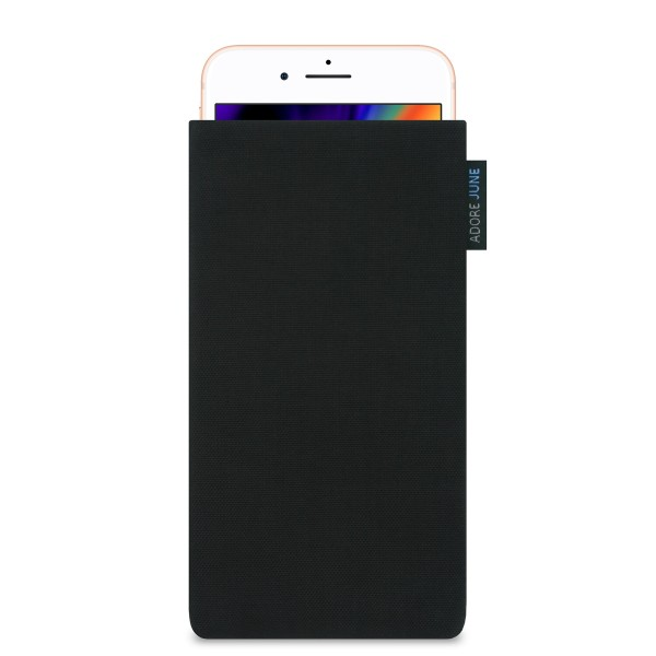 The picture shows the front of Classic Sleeve for Apple iPhone 8 Plus in color Black; As an illustration, it also shows what the compatible device looks like in this bag