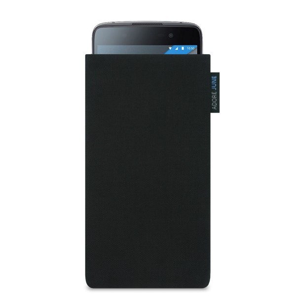 The picture shows the front of Classic Sleeve for BlackBerry DTEK50 in color Black; As an illustration, it also shows what the compatible device looks like in this bag