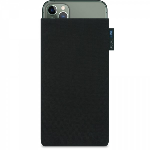 The picture shows the front of Classic Sleeve for Apple iPhone 11 Pro Max in color Black; As an illustration, it also shows what the compatible device looks like in this bag
