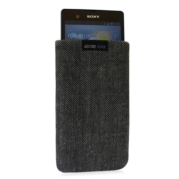 Das Bild zeigt die Vorderseite von Business Tasche für Sony Xperia Z in Farbe Grau / Schwarz; Zur Veranschaulichung wird ebenfalls dargestellt, wie das kompatible Gerät in dieser Tasche aussieht
