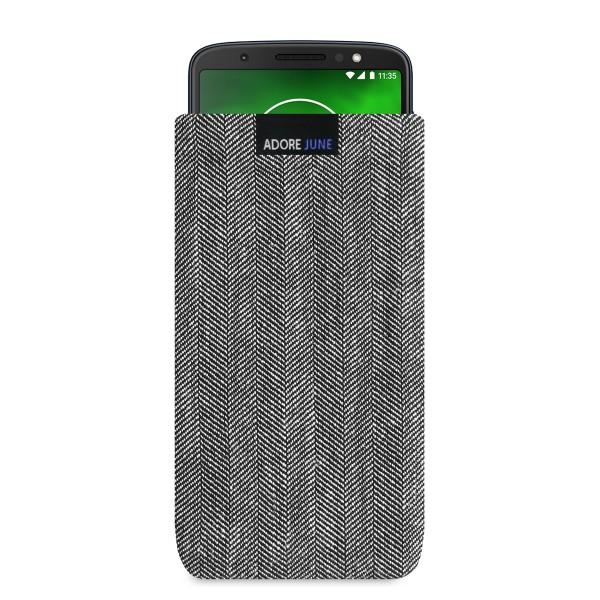 Das Bild zeigt die Vorderseite von Business Tasche für Motorola Moto G6 in Farbe Grau / Schwarz; Zur Veranschaulichung wird ebenfalls dargestellt, wie das kompatible Gerät in dieser Tasche aussieht