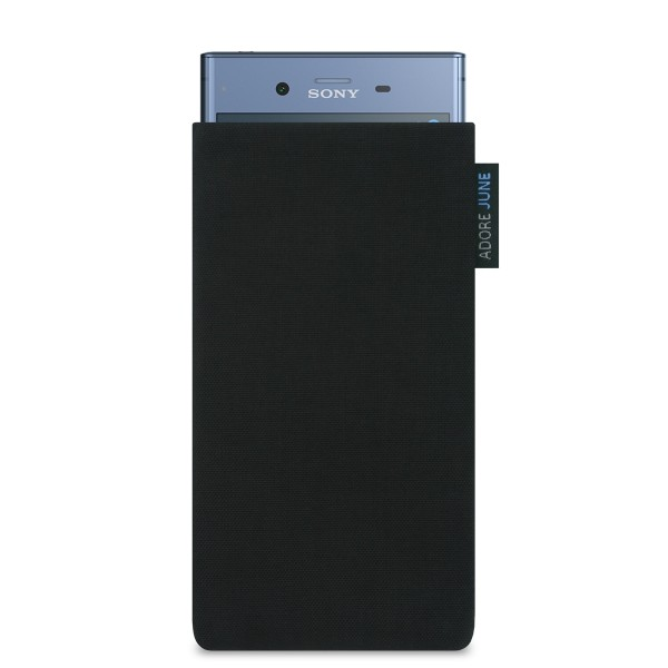 The picture shows the front of Classic Sleeve for Sony Xperia XZ1 in color Black; As an illustration, it also shows what the compatible device looks like in this bag