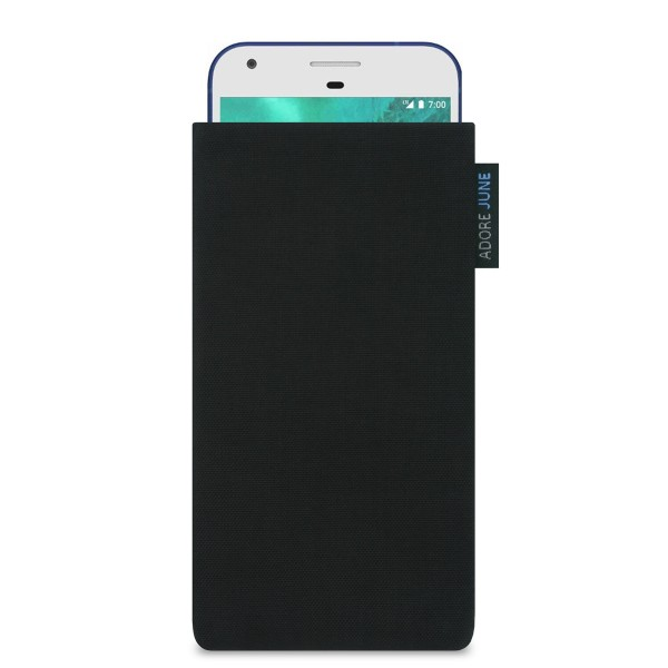 The picture shows the front of Classic Sleeve for Google Pixel in color Black; As an illustration, it also shows what the compatible device looks like in this bag