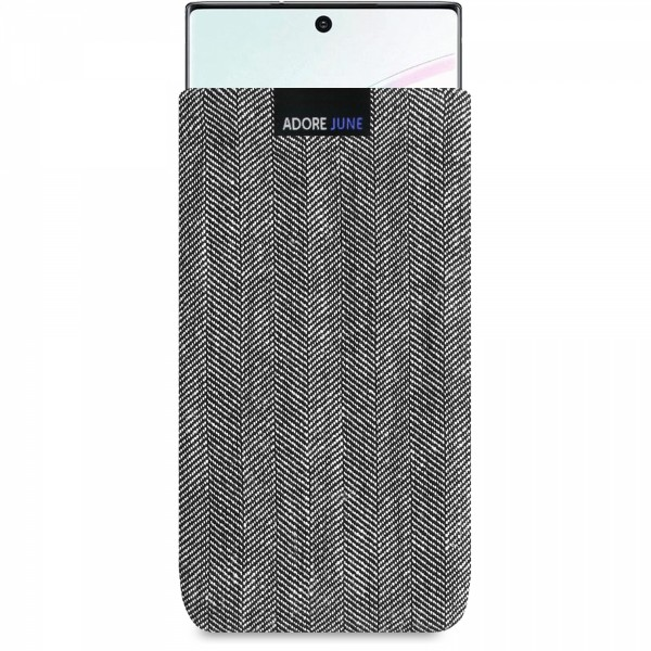 Das Bild zeigt die Vorderseite von Business Tasche für Samsung Galaxy Note 10 in Farbe Grau / Schwarz; Zur Veranschaulichung wird ebenfalls dargestellt, wie das kompatible Gerät in dieser Tasche aussieht