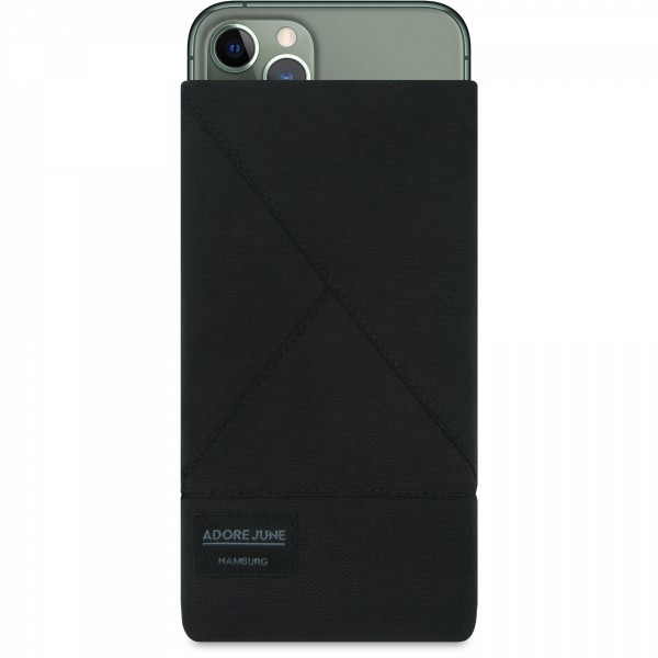 The picture shows the front of Triangle Sleeve for Apple iPhone 11 Pro in color Black; As an illustration, it also shows what the compatible device looks like in this bag
