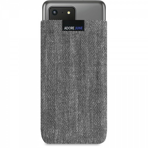 The picture shows the front of Business Sleeve for Samsung Galaxy S20 Ultra in color Grey / Black; As an illustration, it also shows what the compatible device looks like in this bag