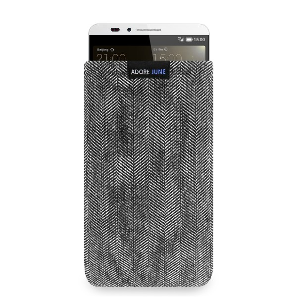 The picture shows the front of Business Sleeve for Huawei Ascend Mate 7 in color Grey / Black; As an illustration, it also shows what the compatible device looks like in this bag