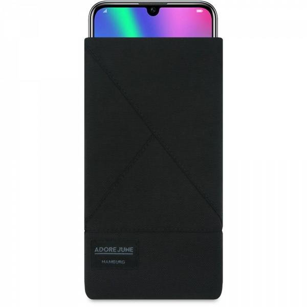 Das Bild zeigt die Vorderseite von Triangle Tasche für Honor 20 Honor 20 Pro und Honor 10 LITE in Farbe Schwarz; Zur Veranschaulichung wird ebenfalls dargestellt, wie das kompatible Gerät in dieser Tasche aussieht
