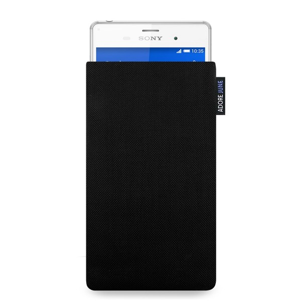 The picture shows the front of Classic Sleeve for Sony Xperia Z3 in color Black; As an illustration, it also shows what the compatible device looks like in this bag
