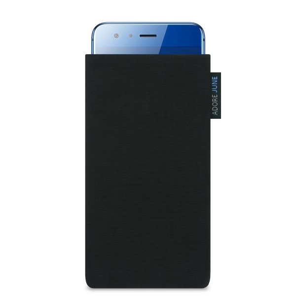 The picture shows the front of Classic Sleeve for Honor 9 in color Black; As an illustration, it also shows what the compatible device looks like in this bag