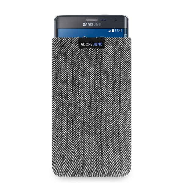 The picture shows the front of Business Sleeve for Samsung Galaxy Note Edge in color Grey / Black; As an illustration, it also shows what the compatible device looks like in this bag