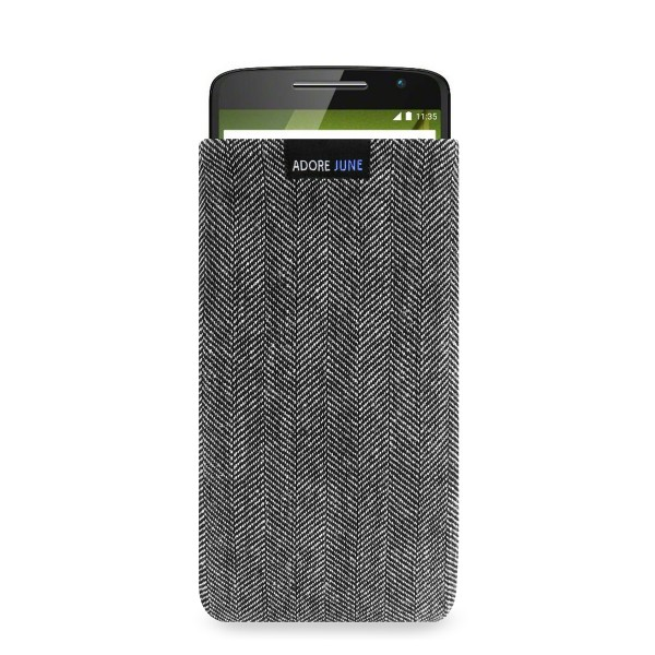 The picture shows the front of Business Sleeve for Motorola Moto X Play in color Grey / Black; As an illustration, it also shows what the compatible device looks like in this bag
