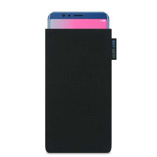 Das Bild zeigt die Vorderseite von Classic Tasche für Honor View 10 und Honor View 20 in Farbe Schwarz; Zur Veranschaulichung wird ebenfalls dargestellt, wie das kompatible Gerät in dieser Tasche aussieht