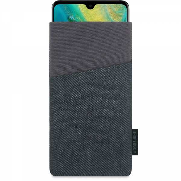 The picture shows the front of Clive Sleeve for Huawei Mate 20 in color Black / Grey; As an illustration, it also shows what the compatible device looks like in this bag