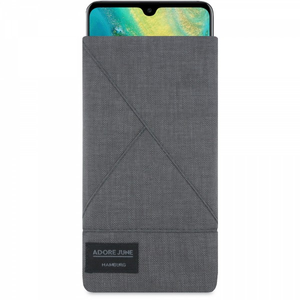 The picture shows the front of Triangle Sleeve for Huawei Mate 20 in color Dark Grey; As an illustration, it also shows what the compatible device looks like in this bag