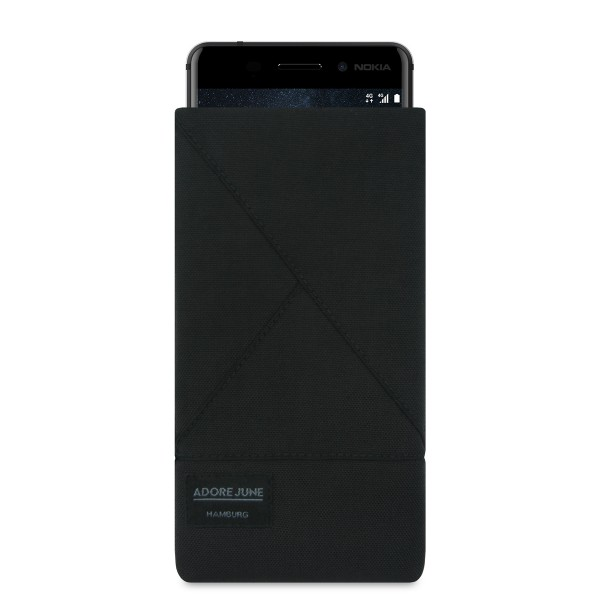 The picture shows the front of Triangle Sleeve for Nokia 6 in color Black; As an illustration, it also shows what the compatible device looks like in this bag