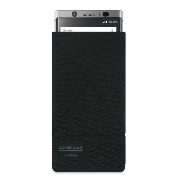 The picture shows the front of Triangle Sleeve for BlackBerry KeyOne in color Black; As an illustration, it also shows what the compatible device looks like in this bag