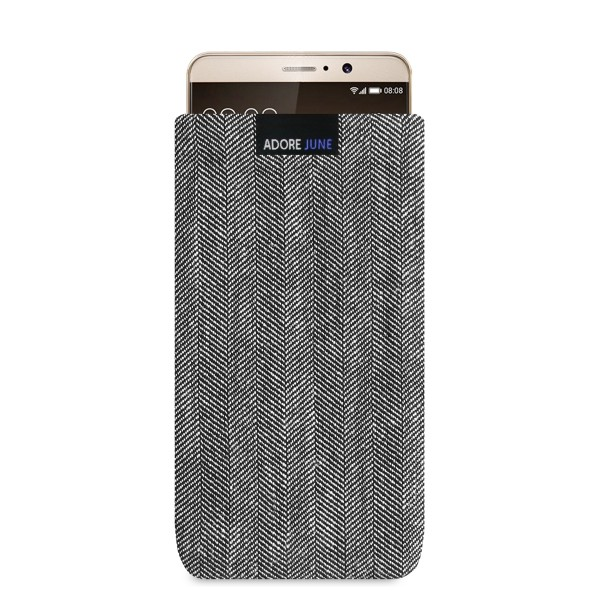 The picture shows the front of Business Sleeve for Huawei Mate 9 in color Grey / Black; As an illustration, it also shows what the compatible device looks like in this bag