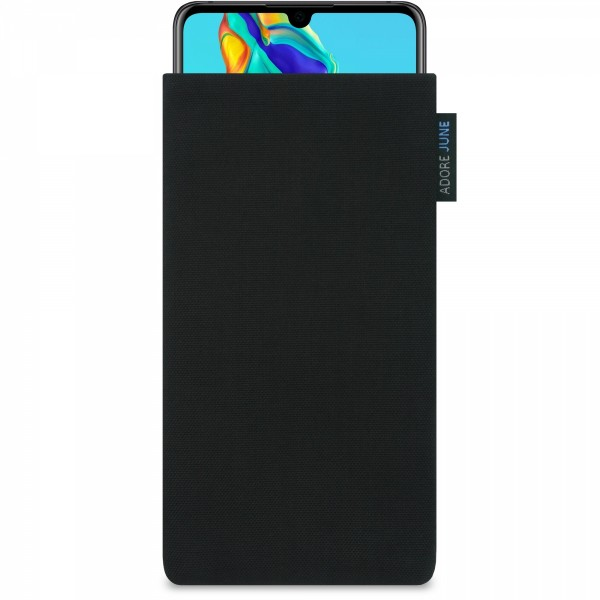 The picture shows the front of Classic Sleeve for Huawei P30 in color Black; As an illustration, it also shows what the compatible device looks like in this bag