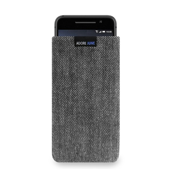 The picture shows the front of Business Sleeve for HTC One A9 in color Grey / Black; As an illustration, it also shows what the compatible device looks like in this bag