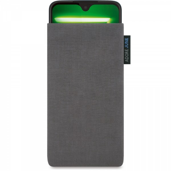 The picture shows the front of Classic Sleeve for Motorola Moto G7 and Moto G7 Plus in color Dark Grey; As an illustration, it also shows what the compatible device looks like in this bag
