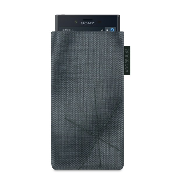 The picture shows the front of Axis Sleeve for Sony Xperia X Compact with Retract Function in color Dark Grey; As an illustration, it also shows what the compatible device looks like in this bag