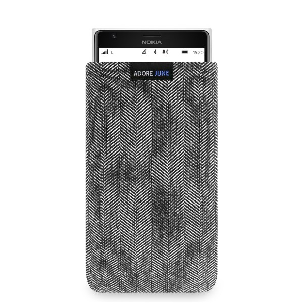 The picture shows the front of Business Sleeve for Nokia Lumia 1520 in color Grey / Black; As an illustration, it also shows what the compatible device looks like in this bag