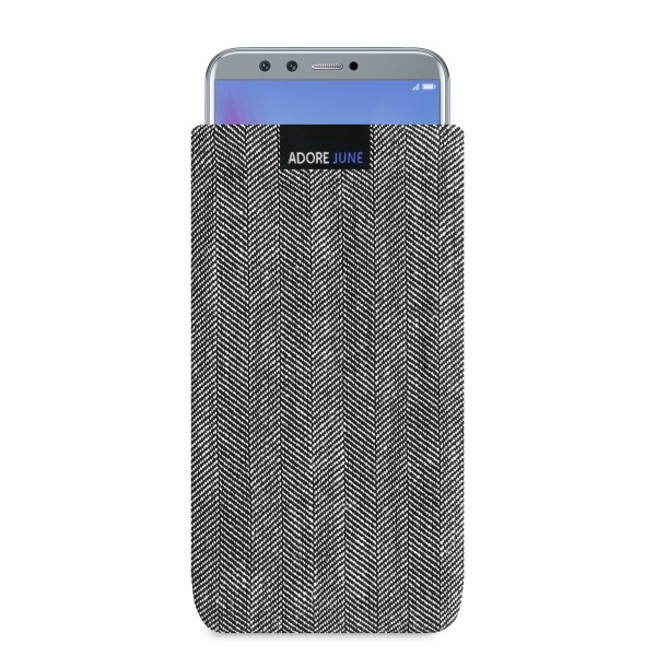 The picture shows the front of Business Sleeve for Honor 9 LITE in color Grey / Black; As an illustration, it also shows what the compatible device looks like in this bag